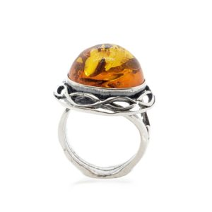 Cognac Amber Oxidized Silver Adjustable Ring