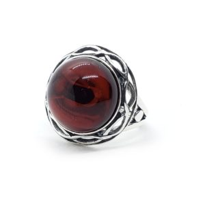 Cherry Amber Oxidized Silver Adjustable Ring