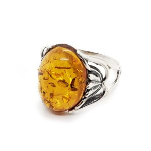 Cognac Amber Sterling Silver Ring