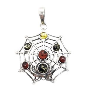 "Multi Color Amber 925 Silver ""Spider Net"" Pendant"