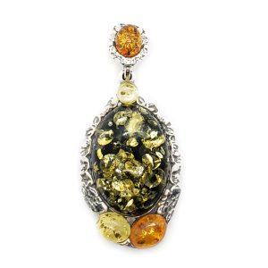 Baltic Amber .925 Silver Multi Color Pendant