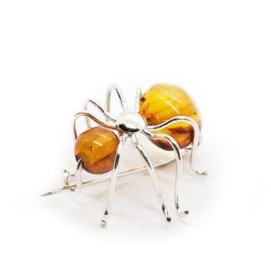 Cognac Amber Sterling Silver Small Spider Pin