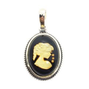 Laser Carved Cognac Amber Cameo Pendant