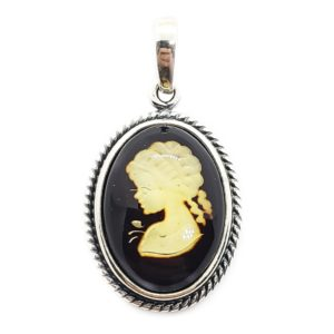 "Laser Carved Amber .925 Silver ""Lady"" Cameo Pendant"