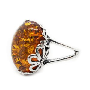 Cognac Amber Flower Design Silver Setting Ring
