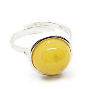 Round Butterscotch Amber Sterling Silver Adjustable Ring