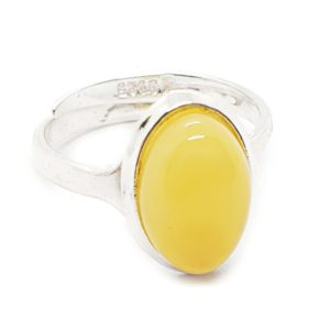 Butterscotch Amber Sterling Silver Adjustable Ring
