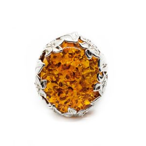 Cognac Amber Flower And Leaf Silver Design Adjustable Ring