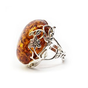 Cognac Amber Flower Design Sterling Silver Adjustable Ring