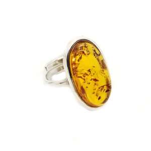 Oval Cognac Amber Adjustable Ring
