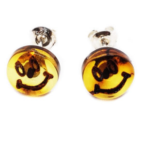 "Baltic Amber ""Smiley Face"" Cameo Stud Earrings"