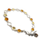 Baltic Amber .925 Silver Bee On Honeycomb Link Bracelet