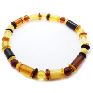Multi Color Baltic Amber Bead Bracelet