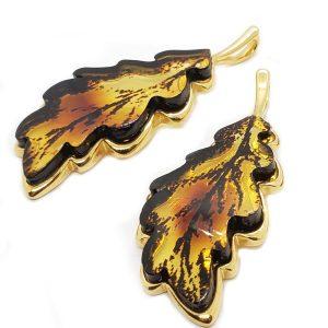Laser Carved Amber Gold Plated Silver Leaf Pendant