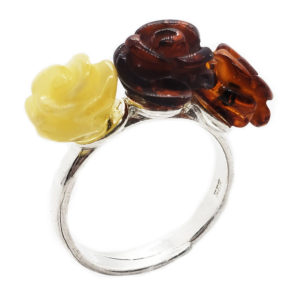 Carved Roses Multi Color Amber Adjustable Ring