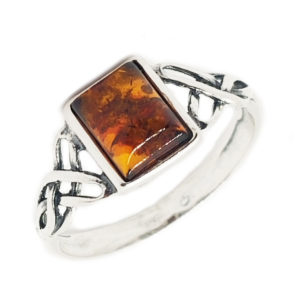 Cognac Amber Sterling Silver Celtic Ring