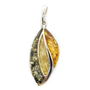 Large Multi Color Amber Pendant