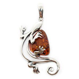 Cognac Amber Sterling Silver Lizard Pendant