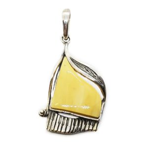 Butterscotch Amber Sterling Silver Piano Pendant