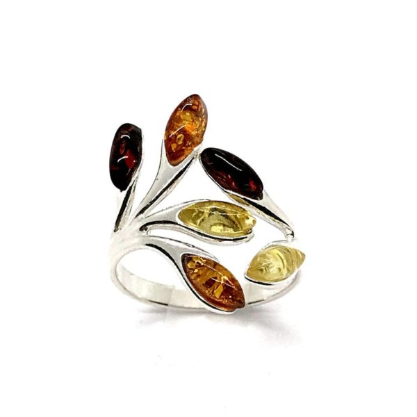 Amber Multi Color Adjustable Ring 925