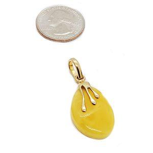 Butterscotch Amber 14K Gold Plated Silver Pendant