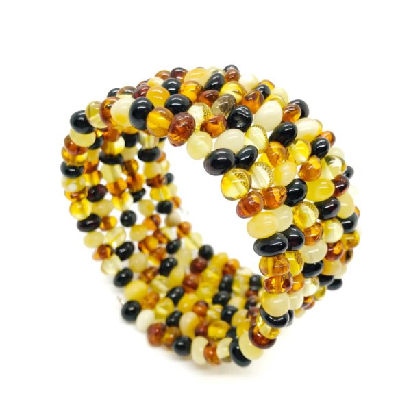 Multi Color Amber Bead Bracelet