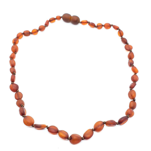 Matte Finish/Raw Cognac Amber Baby/Teething Necklace
