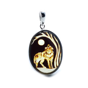 "Hand Carved Amber .925 Silver ""Wolf And Moon"" Cameo Pendant"