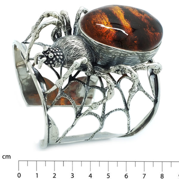 "Conac Amber Sterling Silver ""Spider"" Cuff Bracelet"