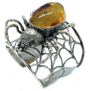 "Baltic Amber Sterling Silver ""Spider"" Cuff Bracelet"