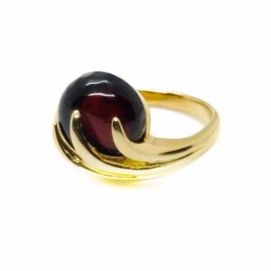 Cherry Amber Gold Plated Silver Ring