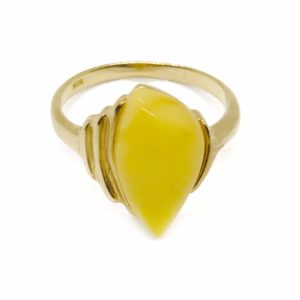 Butterscotch Amber Gold Plated Silver Ring