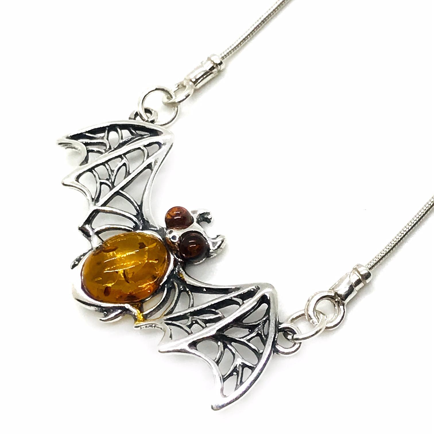 "Cognac Amber Sterling Silver ""Bat"" Necklace"