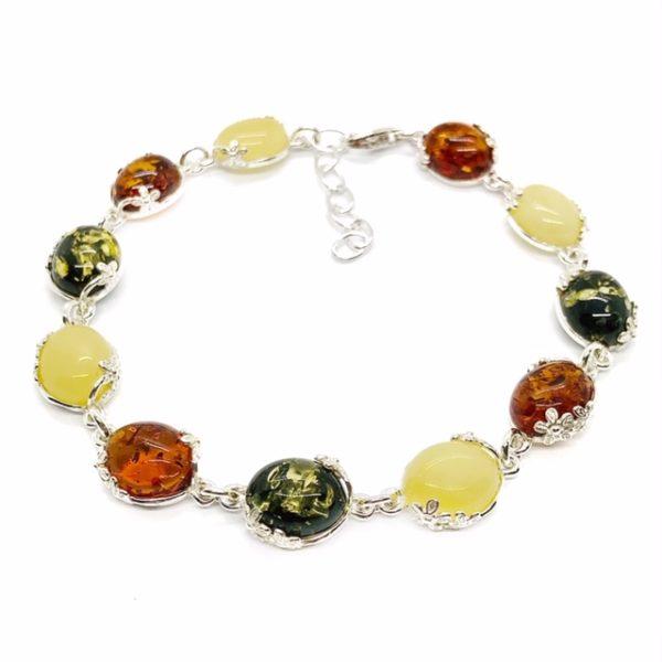 Multi Color Amber Flower Design Silver Link Bracelet