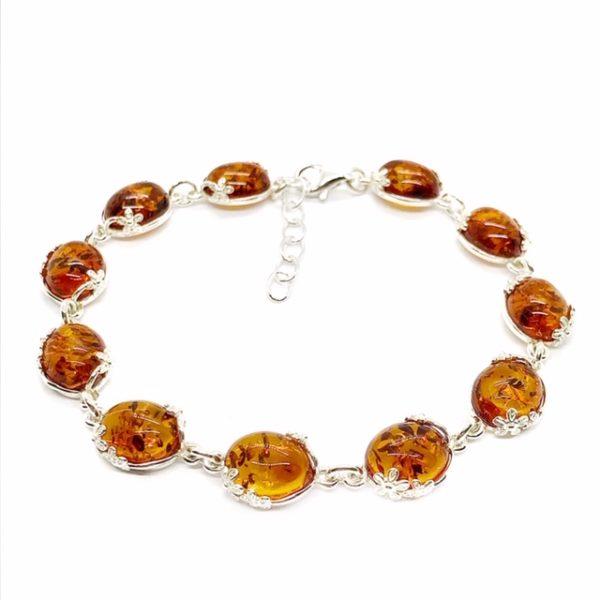 Cognac Amber Flower Design Silver Link Bracelet