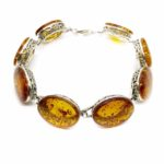 Cognac Amber Filigree Silver Link Bracelet