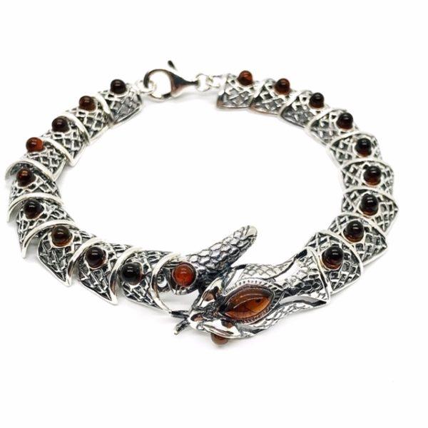 """Dark Cognac Amber .925 Silver """"Snake"""" Link Bracelet"""