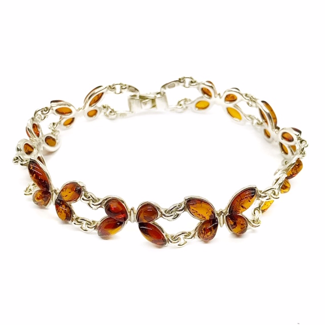 Cognac Amber Butterfly Link Bracelet