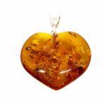 Cognac Amber Large Heart Pendant