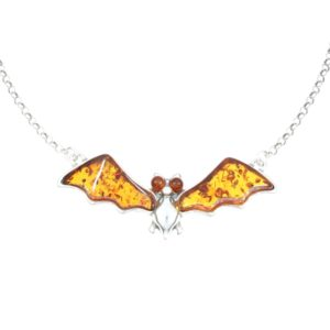 Cognac Amber Sterling Silver Bat Necklace