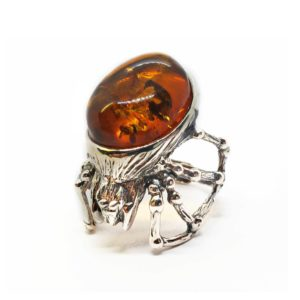 Cognac Amber .925 Silver Adjustable Spider Ring