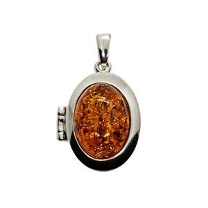 Cognac Amber Sterling Silver Locket Pendant