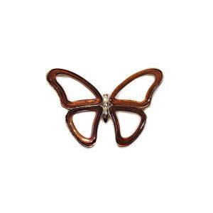 Dark Cognac Amber Large Butterfly Pendant