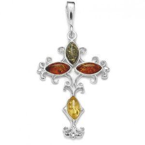 Multi Color Amber Filigree Silver Cross Pendant