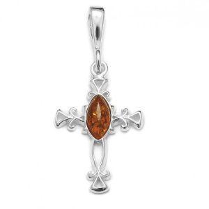 Cognac Amber .925 Silver Small Cross Pendant