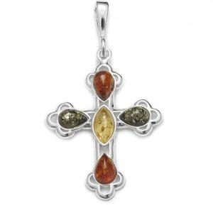 Multi Color Amber .925 Silver Cross Pendant