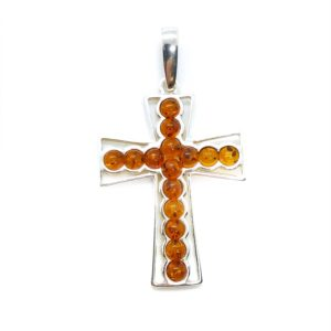Cognac Amber Sterling Silver Cross Pendant