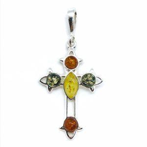 Multi Color Amber Sterling Silver Cross Pendant