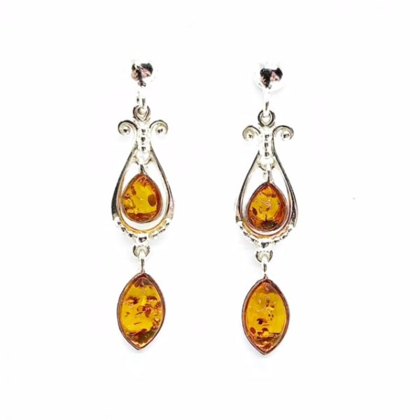 Cognac Amber .925 Silver Post Dangle Earrings