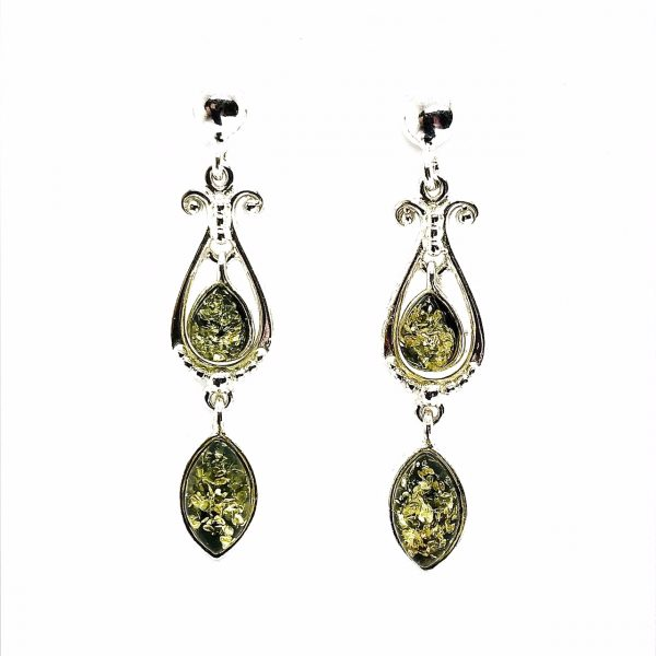 Green Amber .925 Silver Post Dangle Earrings